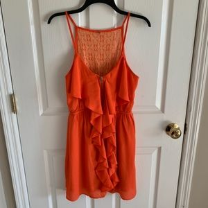Orange Ruffle Zip Up The Front Party Dress Size M